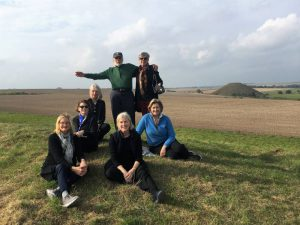 On top of West Kennet Long Barrow in October with Silbury Hill behind