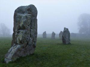 Avebury in November morning mist