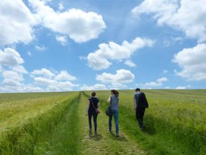 Walking up to West Kennet Long Barrow on a glorious June day