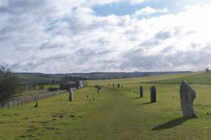 Looking south down the avenue of stones