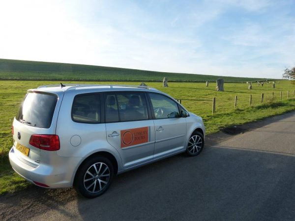 Guided tours of Avebury - Oldbury Tours car at West Kennet Avenue