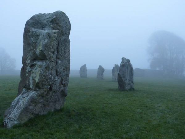 Visit with an Avebury guide - the southern inner circle in morning mist