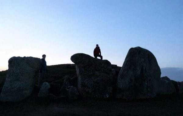 Avebury hike - at West Kennet Long Barrow near Avebury, Wiltshire UK