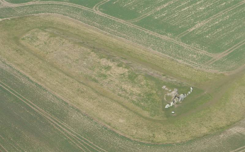 Aerial photograph of West Kennet Long Barrow