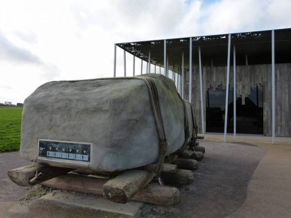 Stonehegne and Avebury tours - a replica stone to try and drag at the visitor centre, Stonehenge, Wiltshire, UK