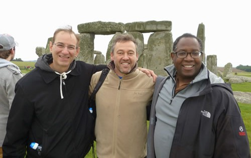 Laurence at Stonehenge with two clients in 2014